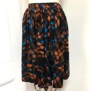 Wool blend print full skirt